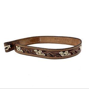 Vintage Tooled Leather Belt Kona Kut XS Western XS
